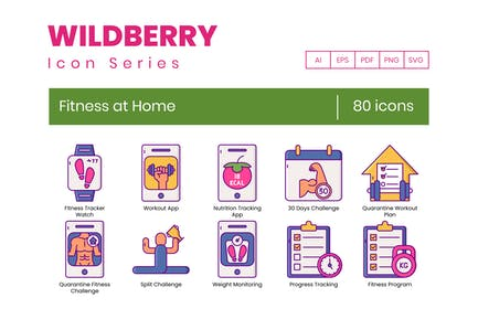 80 Fitness at Home Icons - Wildberry Series