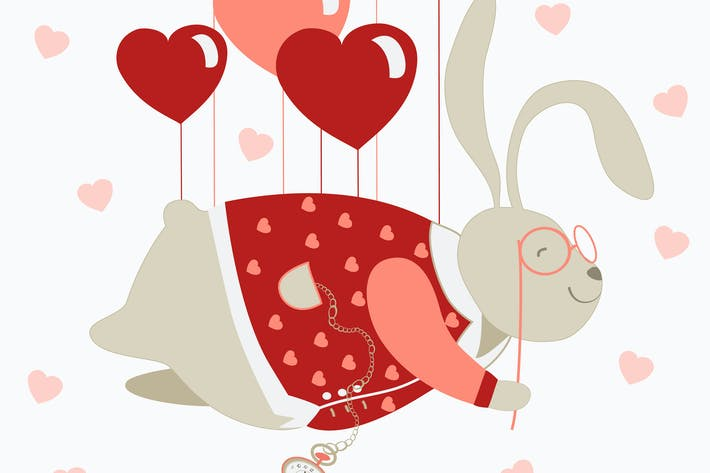 Cover Image For Cute valentine rabbit flying on pink heart