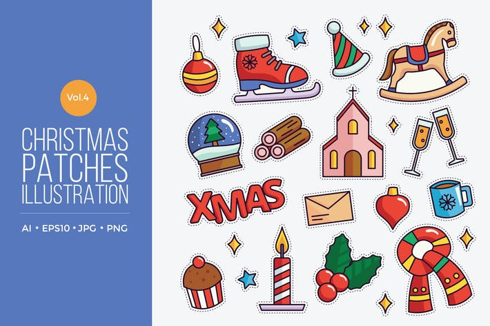 Thumbnail for Cute Merry Christmas Patches Vector Vol.4