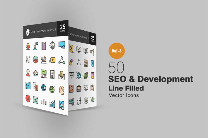 Thumbnail for 50 SEO & Development Line Filled Icons