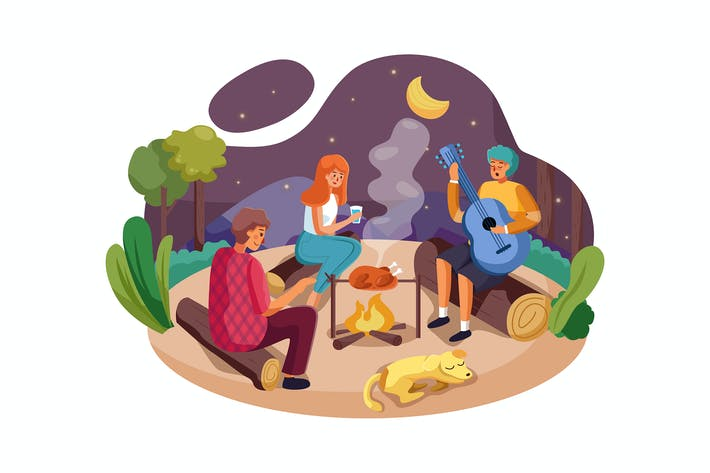 Thumbnail for Happy friends enjoy camping picnic and barbecue