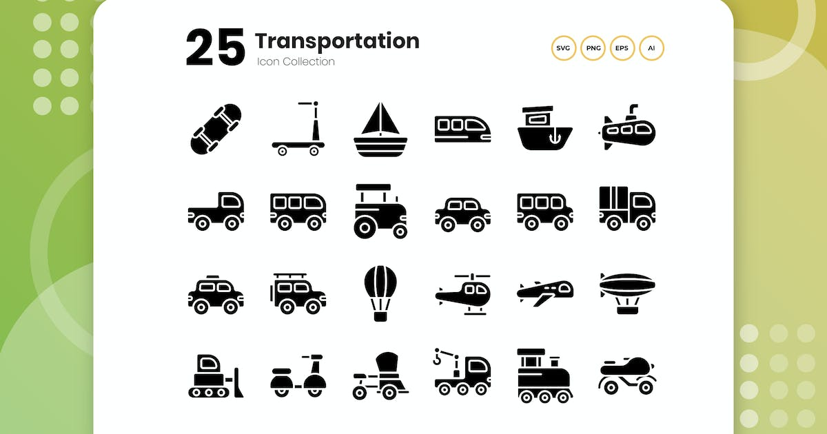 Download 25 Transportation Glyph Icon by vectorclans