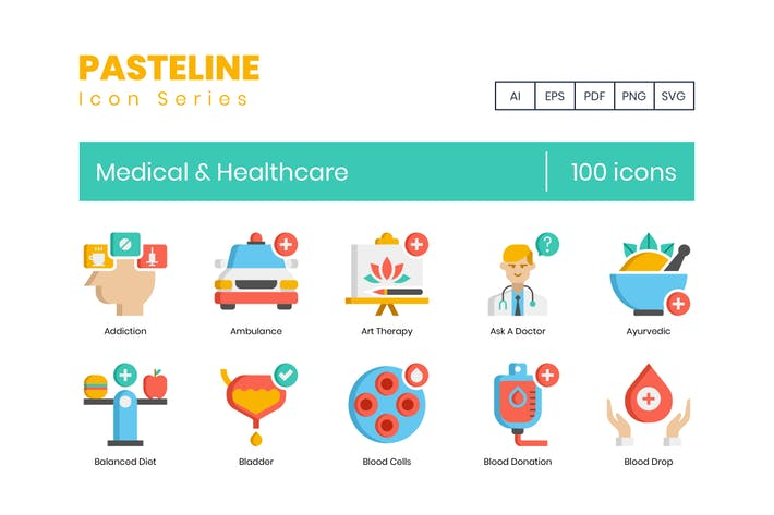 Thumbnail for 100 Medical & Healthcare Flat Icons