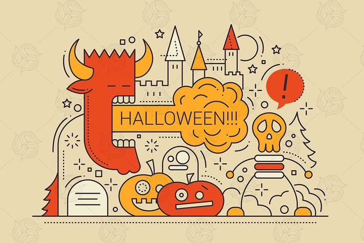 Thumbnail for Halloween - line design style Illustration