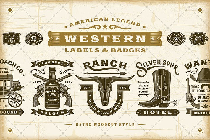 Thumbnail for Vintage Western Labels and Badges Set