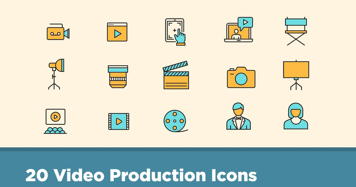 Download 25 Video Production Icons by creativevip