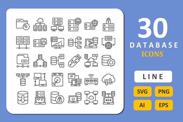 Thumbnail for 30 Database Icons - Line
