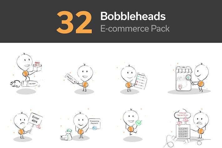 Thumbnail for E-commerce & Software Bobblehead Illustration