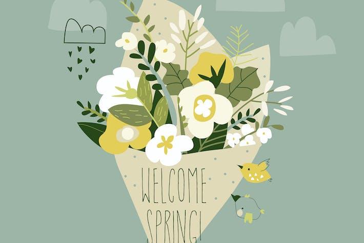 Netter Frühlingsblumenstrauß. Vektor-illustratio