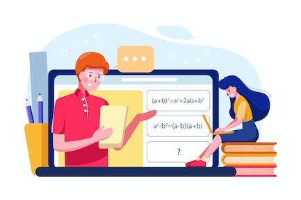 The girl learn online math tutoring illustration.