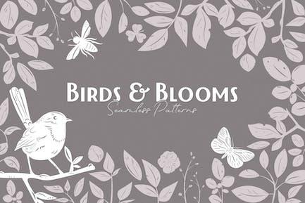 Vögel & Blüten Nahtlose Muster