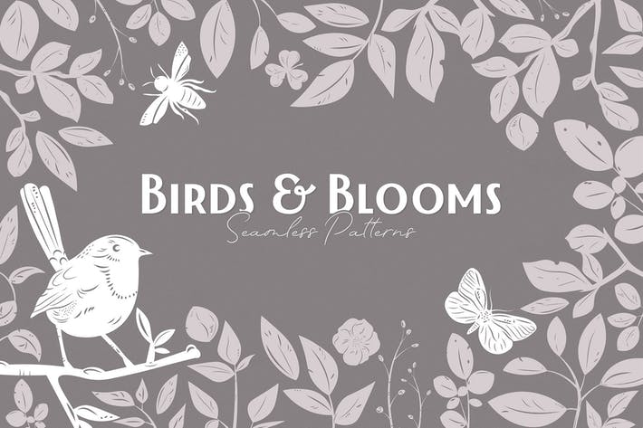 Cover Image For Birds & Blooms Seamless Patterns