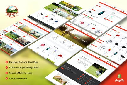 Golfy - Гольф, Спорт Shopify Тема
