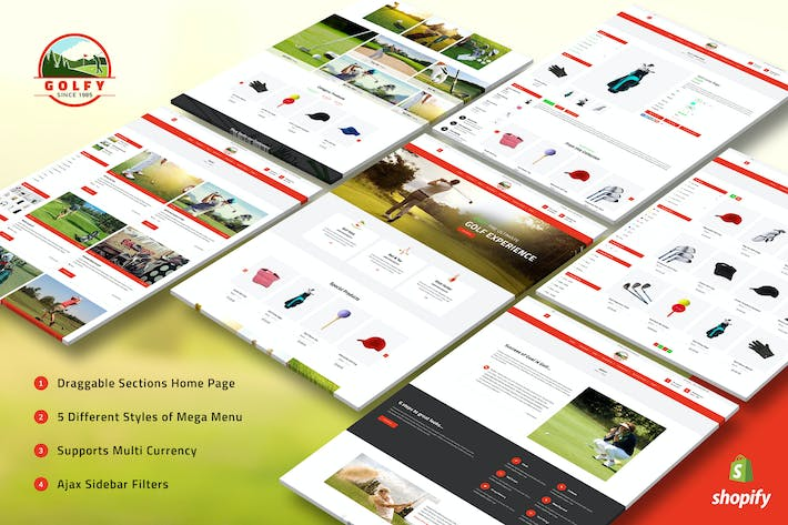 Thumbnail for Golfy - Golf, Sports Shopify Theme