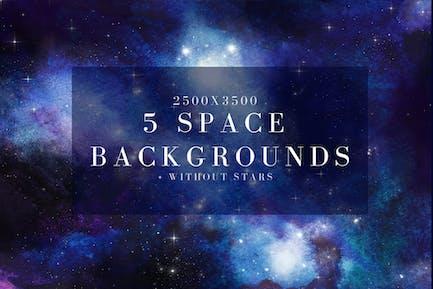 5 watercolor space, universe backgrounds set