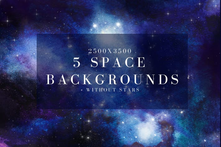 Thumbnail for 5 watercolor space, universe backgrounds set