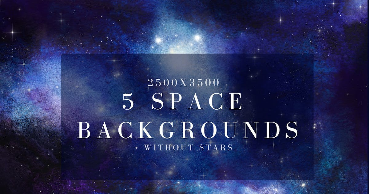 Download 5 watercolor space, universe backgrounds set by kaleriia