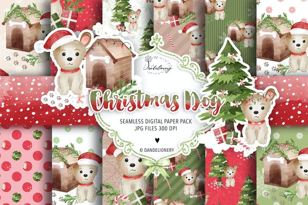 Cute Christmas Dod digital paper pack