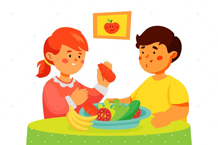 Children eating fruit and vegetables illustration