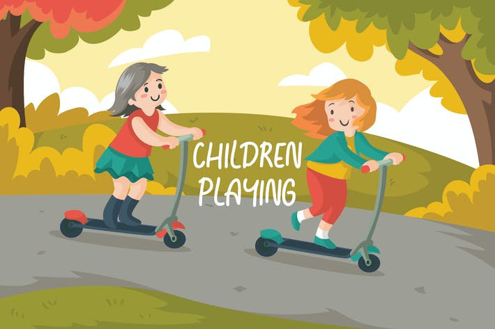 Thumbnail for CHILDREN PLAYING - Vector Illustration