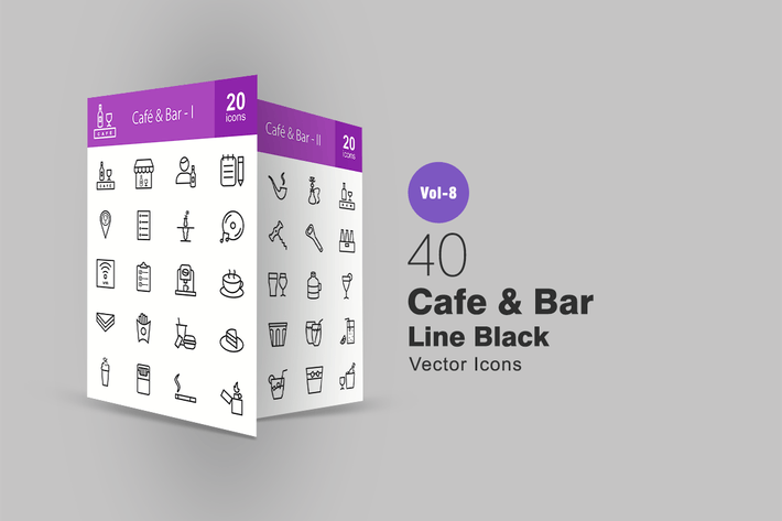 Thumbnail for 40 Cafe & Bar Line Icons
