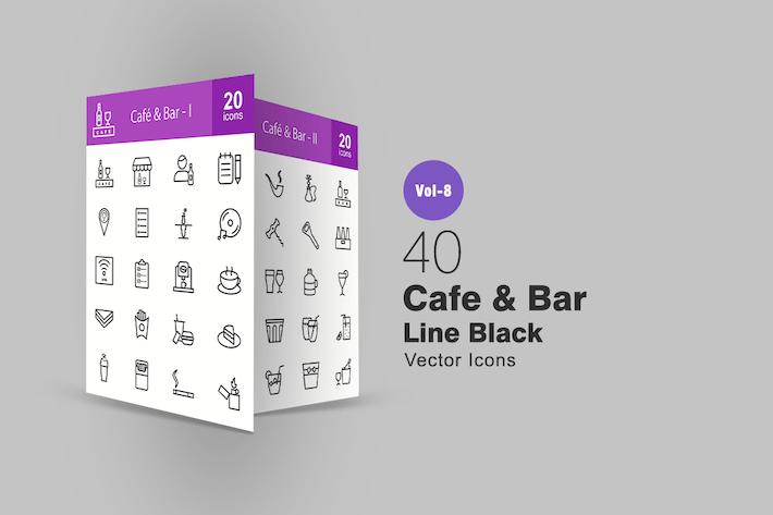 40 Cafe & Bar Line Icons
