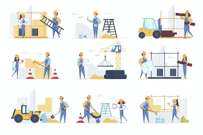 Thumbnail for Строители люди персонажа ситуации сцены