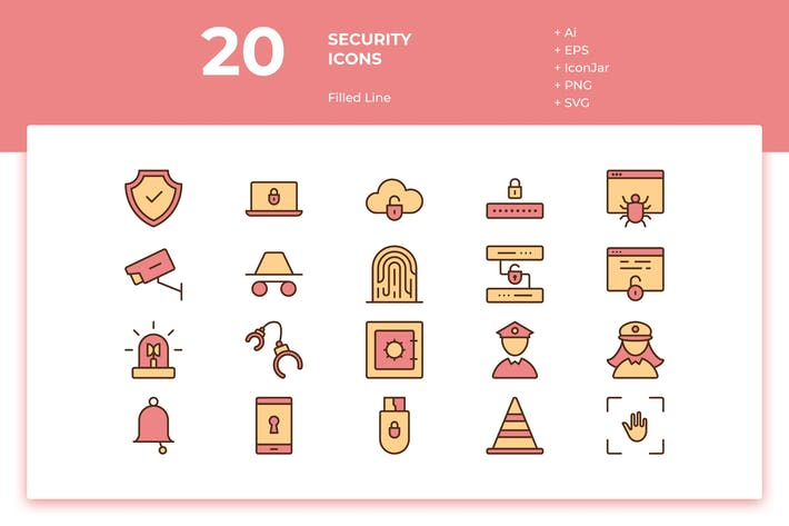 Thumbnail for 20 Security Icons (Filled Line)