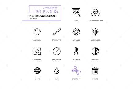 Photo correction - modern line design icons set