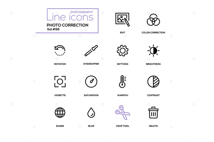Thumbnail for Photo correction - modern line design icons set