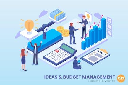 Isometrische Ideen und Budget-Management-Konzept