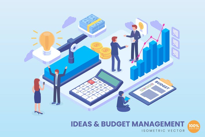 Thumbnail for Isometric Ideas & Budget Management Concept
