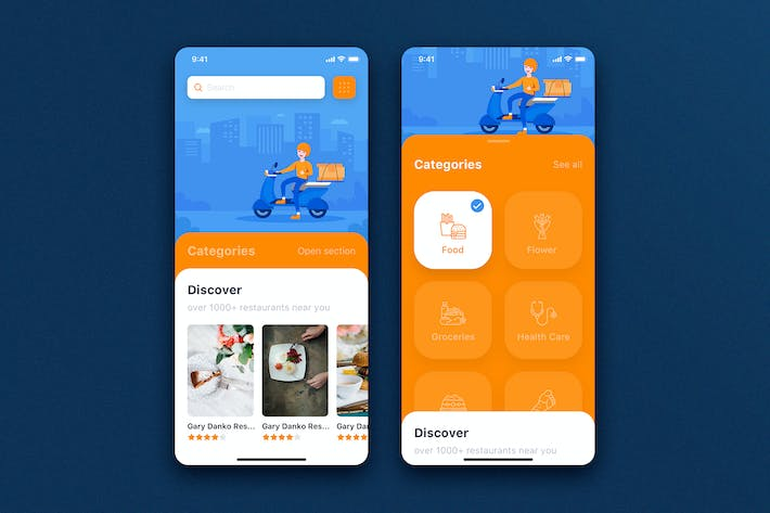 Thumbnail for Delivery Service mobile app concept