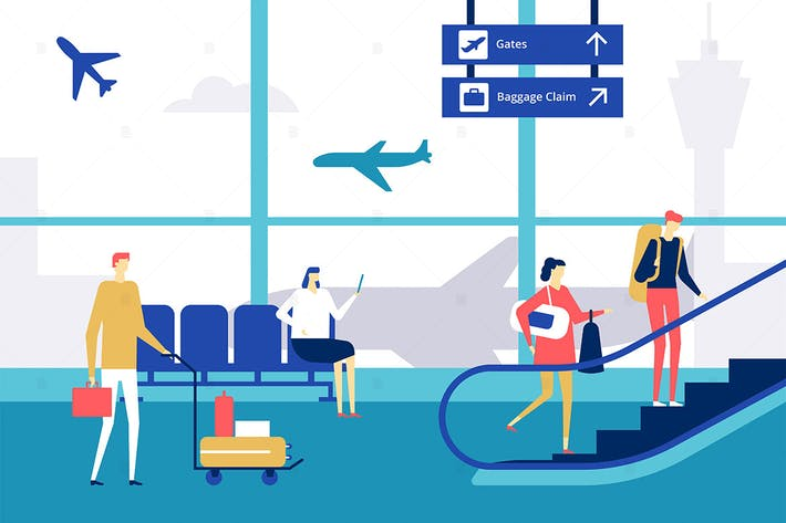 Thumbnail for At the airport - flat design style illustration