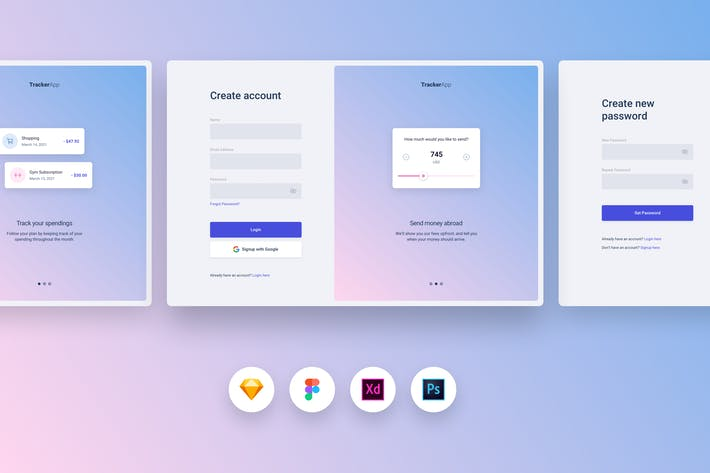 Thumbnail for UI & UX Pattern Kit - Signup, Login & Reset Pass
