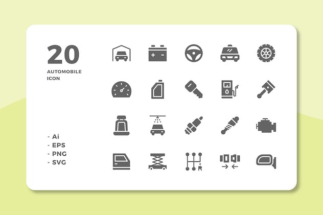20 Automobile Icons (Solid)