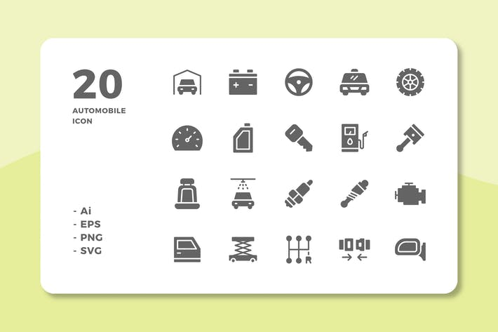 20 Automobile Icons (solide)