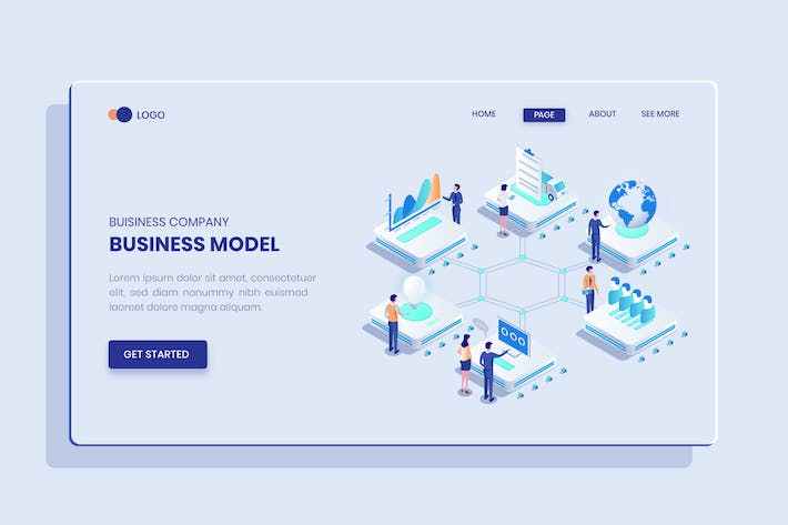 Business Model Isometric Vector Concept