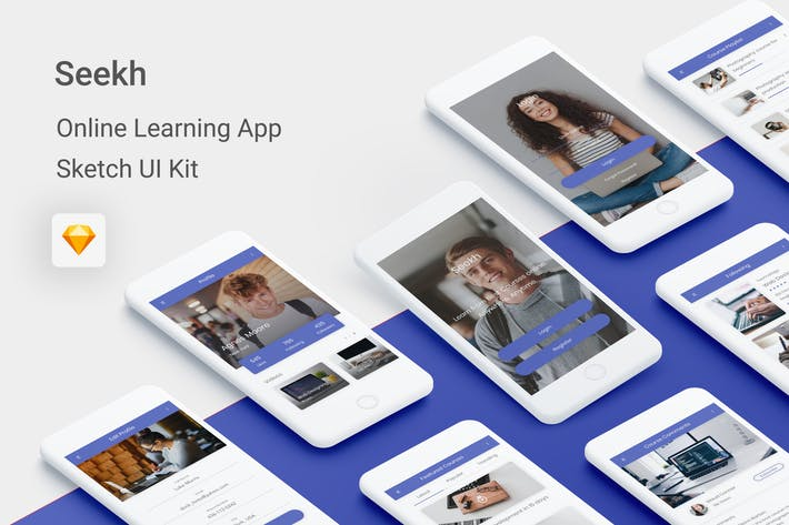 Thumbnail for Seekh - Online Learning UI Kit for Sketch