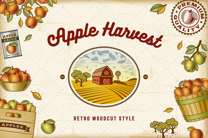 Thumbnail for Vintage Colorful Apple Harvest Set