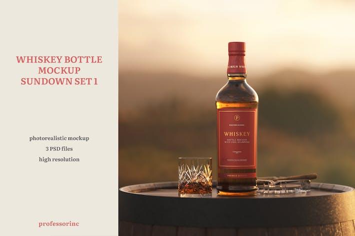 Cover Image For Whiskey Bottle Mockup - Sundown Set 1