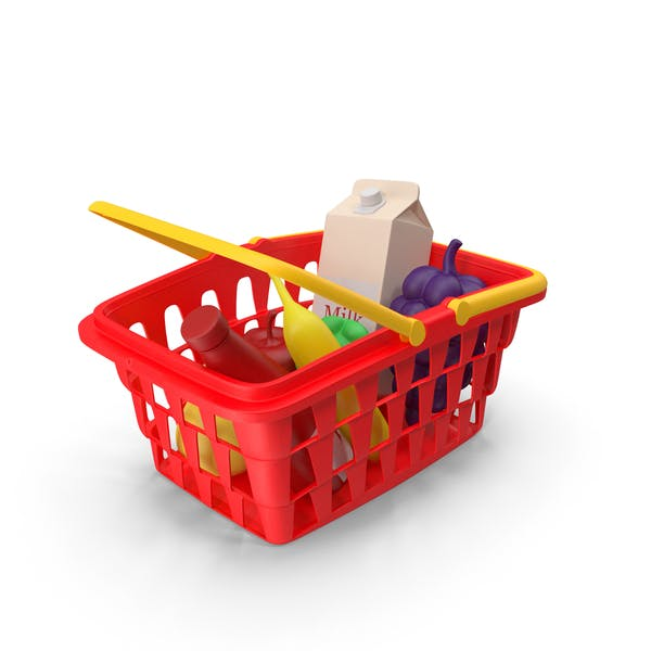 Children Shopping Basket with Grocery Food Toy