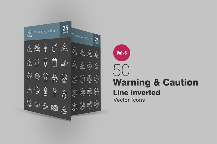 Thumbnail for 50 Warning & Caution Line Inverted Icons