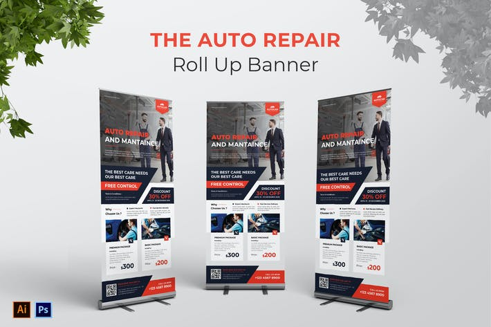 Auto Repair Roll Up Banner