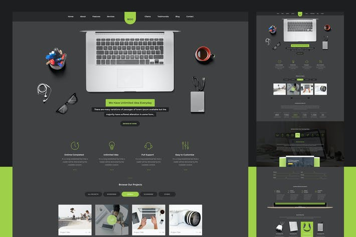 Thumbnail for Dark Clean Onepage PSD Template