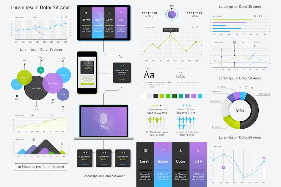 Download vector elements of infographics and user interface by fet