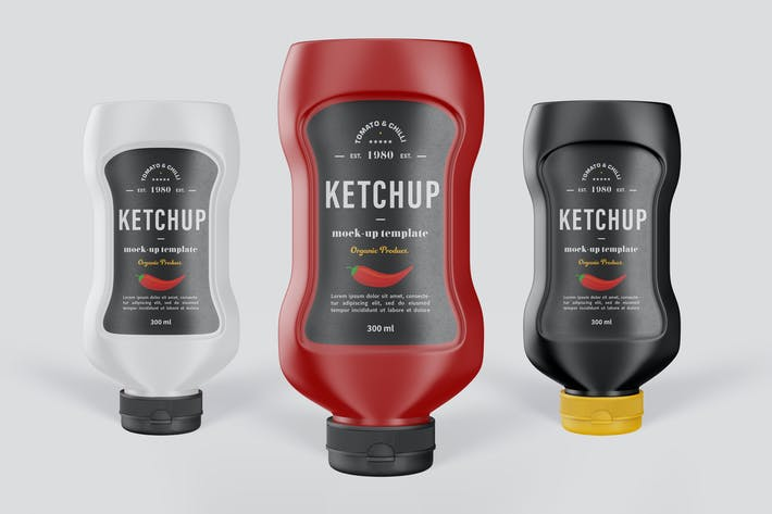 Tomato Ketchup Bottle Mock-Up Template