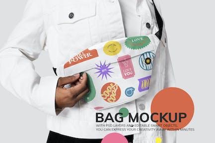 Woman using printed fanny pack bag mockup