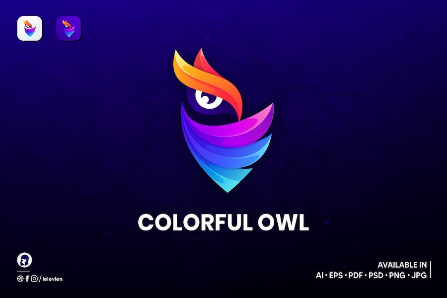 Colorful owl logo template