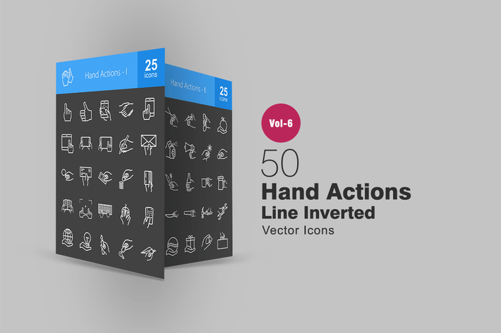 Thumbnail for 50 Hand Actions Line Inverted Icons